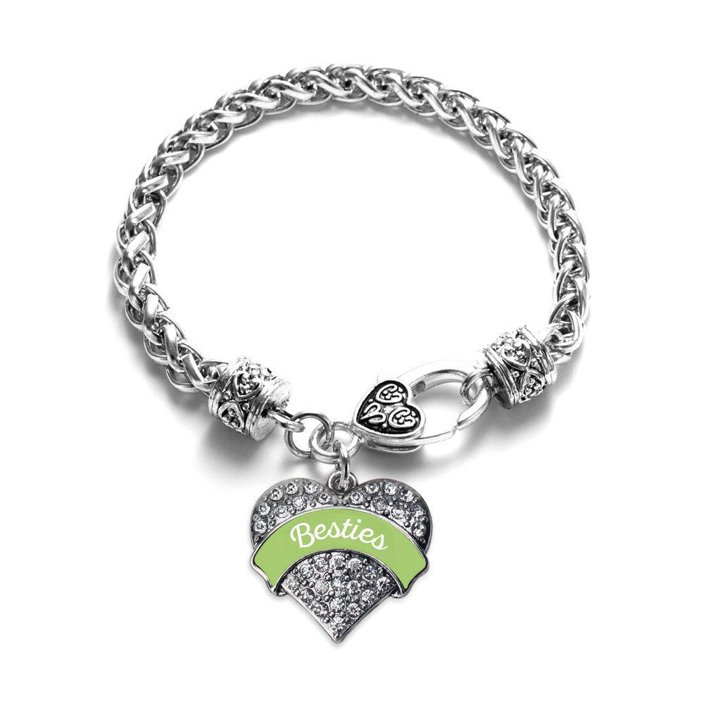 Sage Green Besties Pave Heart Charm