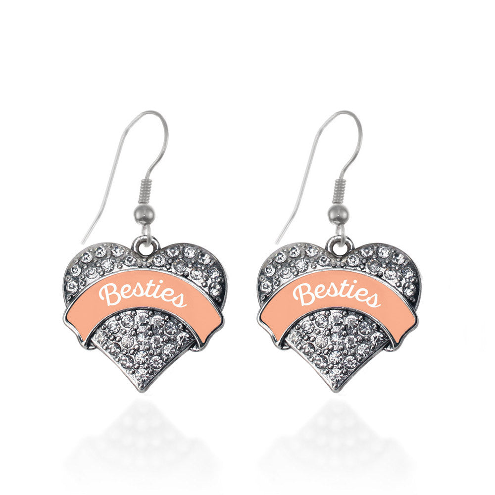 Peach Besties Pave Heart Charm