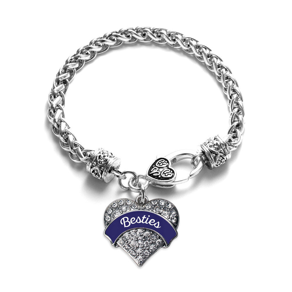 Navy Blue Besties Pave Heart Charm