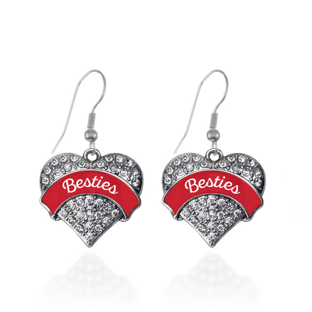 Red Besties Pave Heart Charm