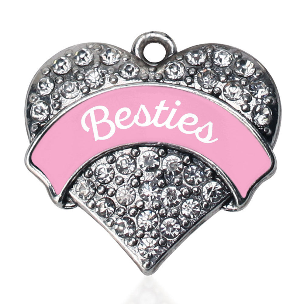 Light Pink Besties Pave Heart Charm