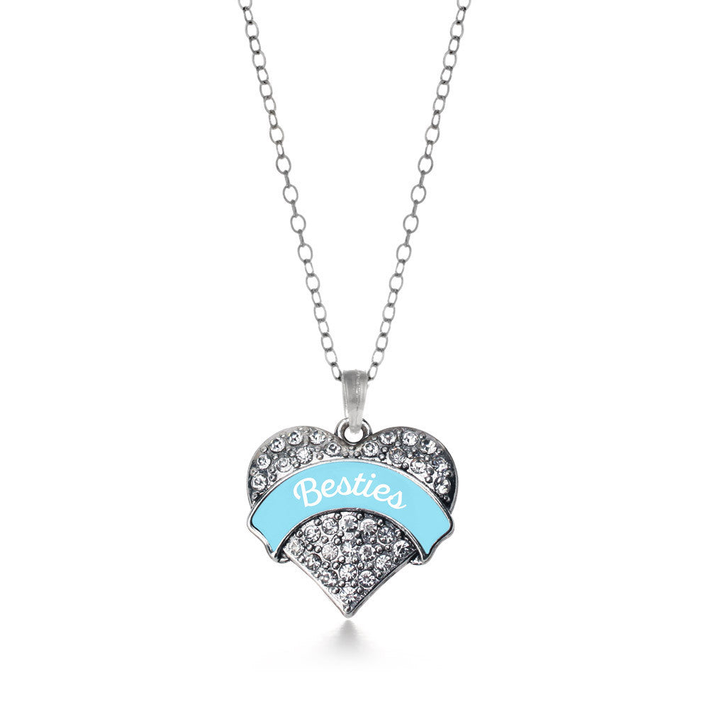 Light Blue Besties Pave Heart Charm