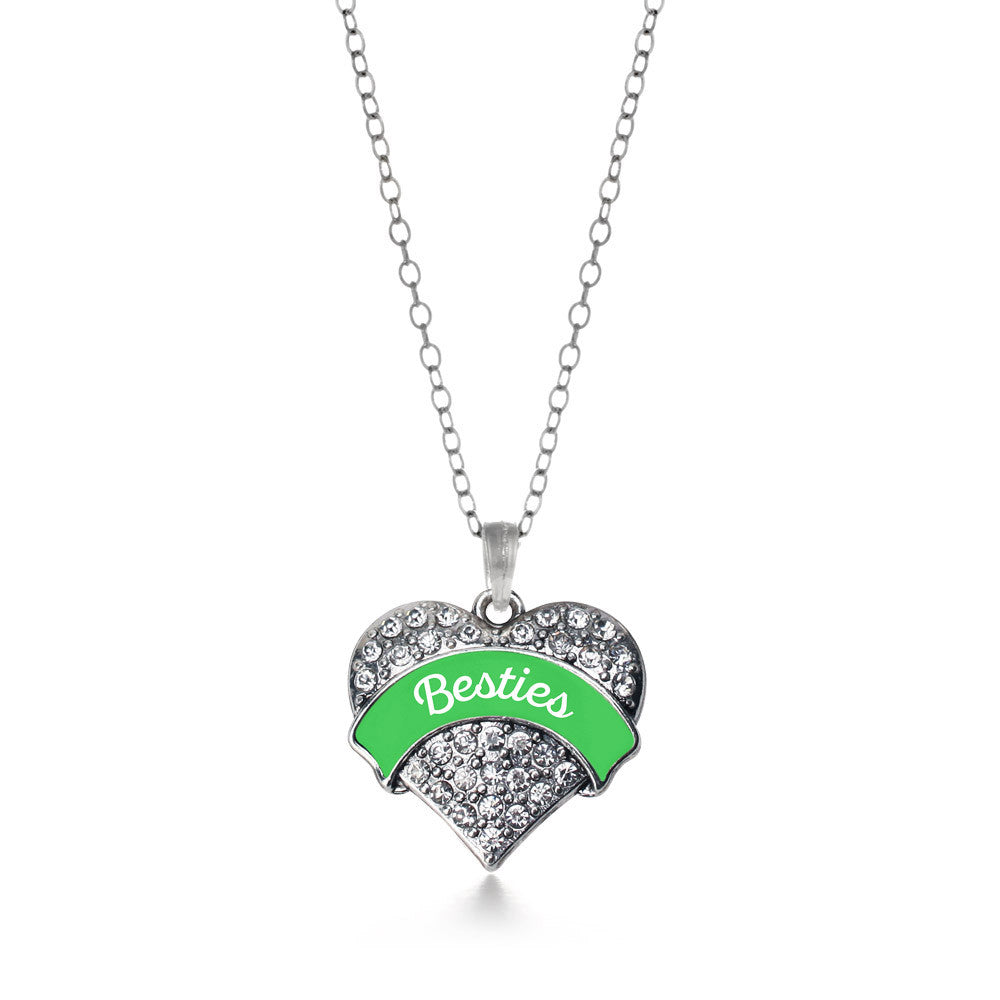 Emerald Green Besties Pave Heart Charm