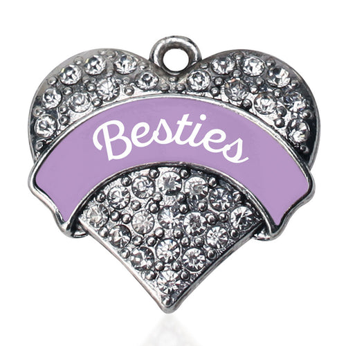 Lavender Besties Pave Heart Charm