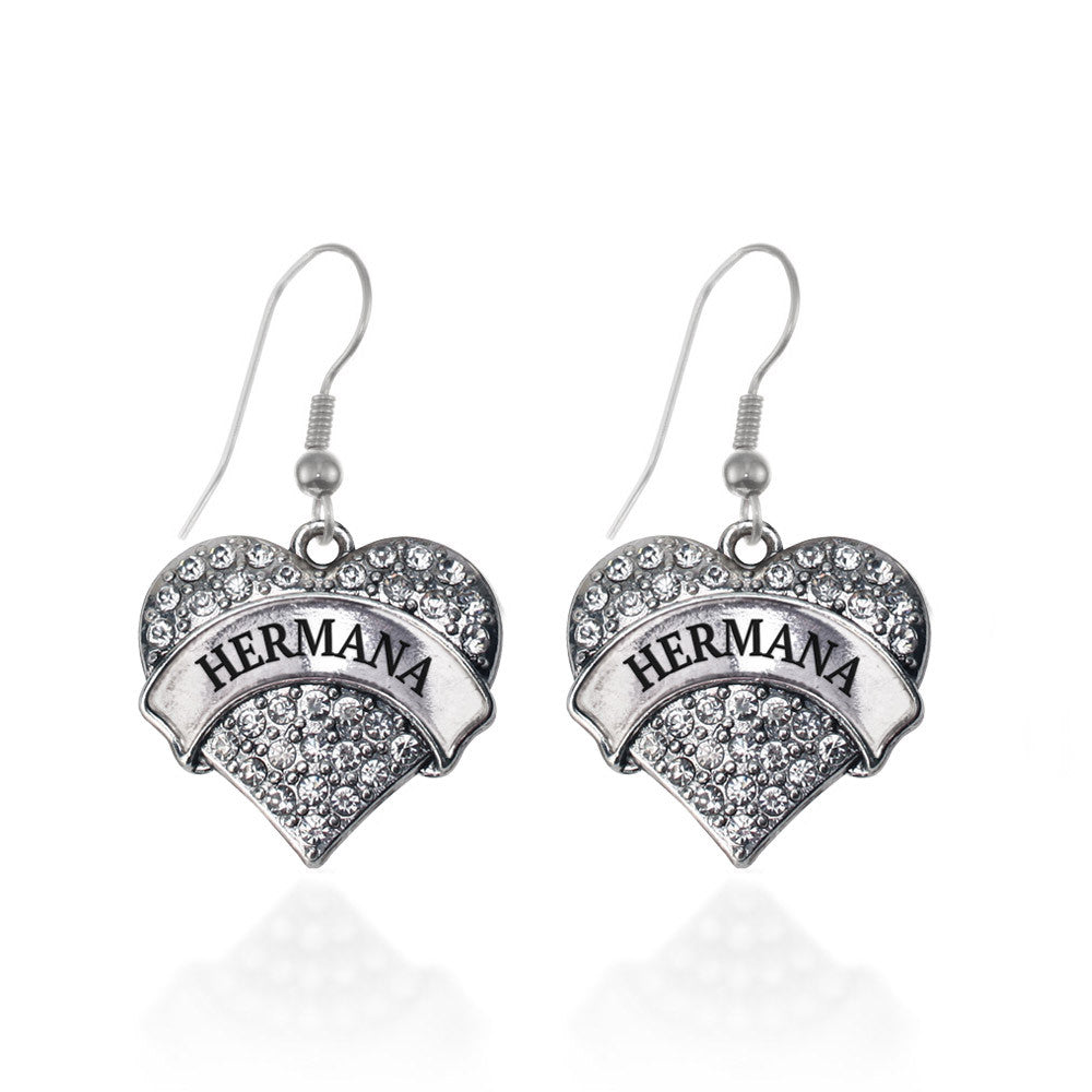 Hermana - Sister in Spanish Pave Heart Charm