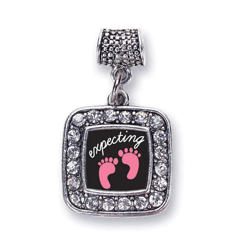 Expecting A Girl Footprints Square Charm