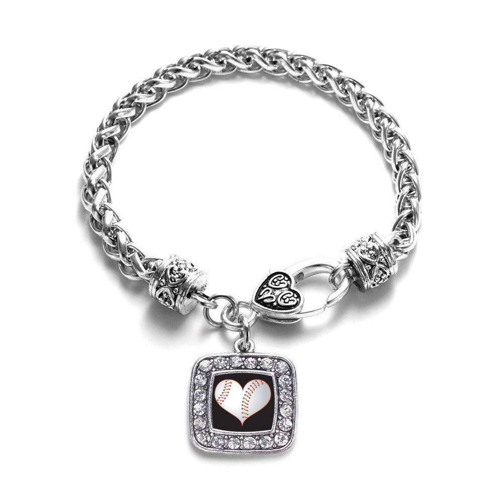 Heart Of A Baseball Player Square Charm
