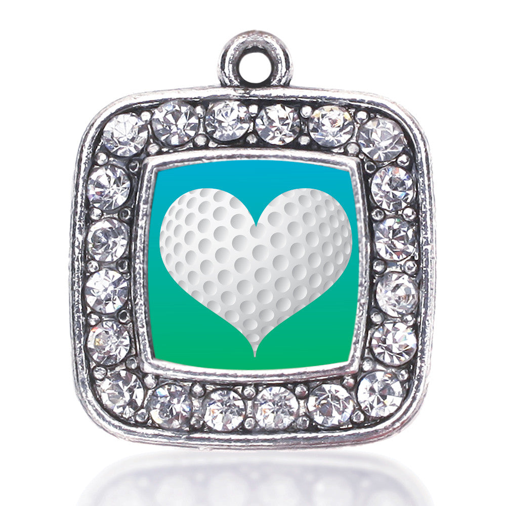Heart Of A Golfer Square Charm
