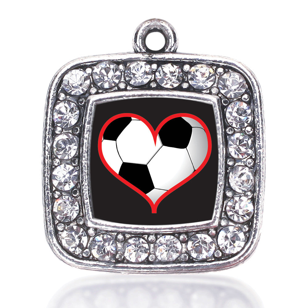 Heart Of A Soccer Player Square Charm