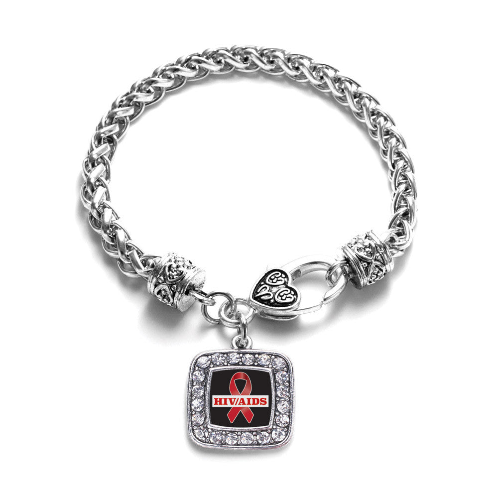 HIV/AIDS Awareness Ribbon Square Charm