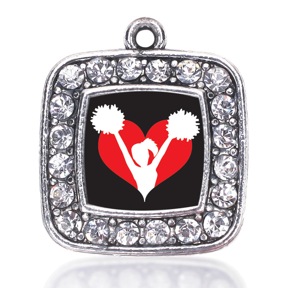 I Heart Cheering Square Charm