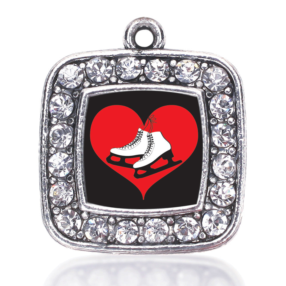 I Heart Ice Skating Square Charm
