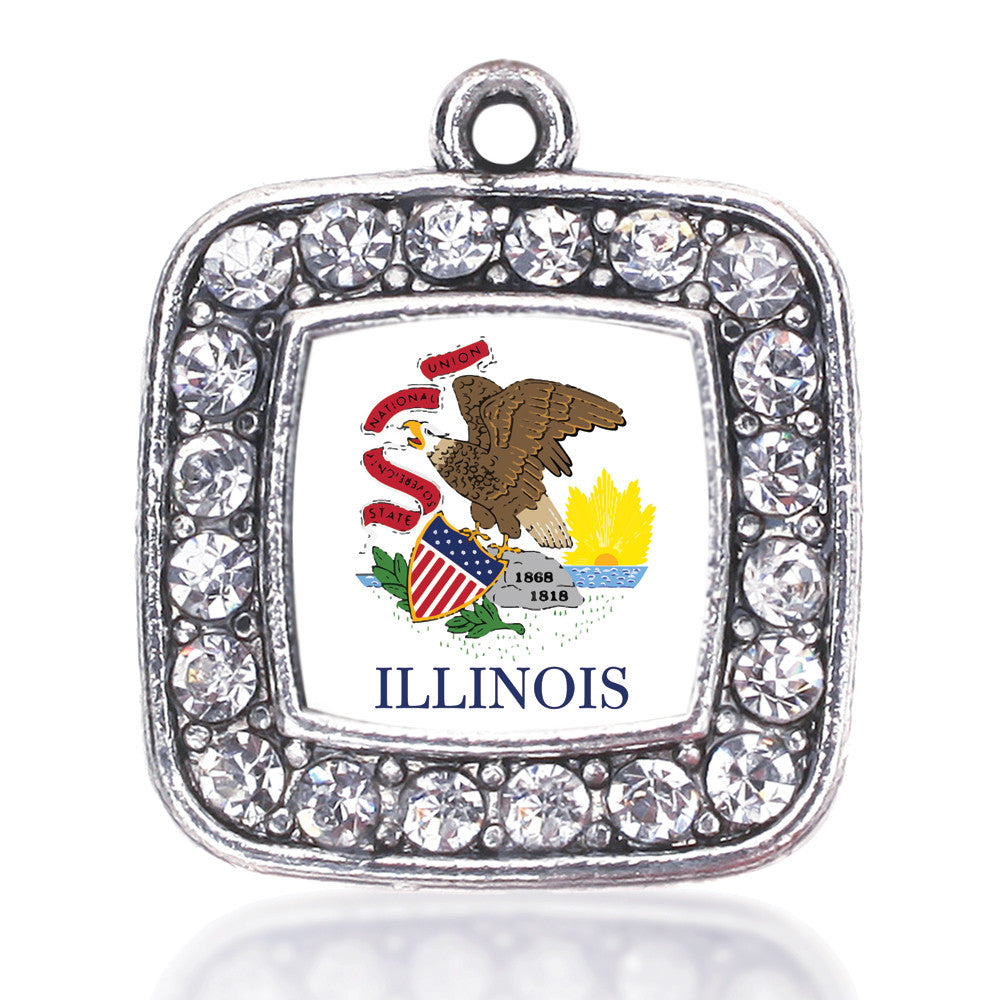 Illinois Flag Square Charm