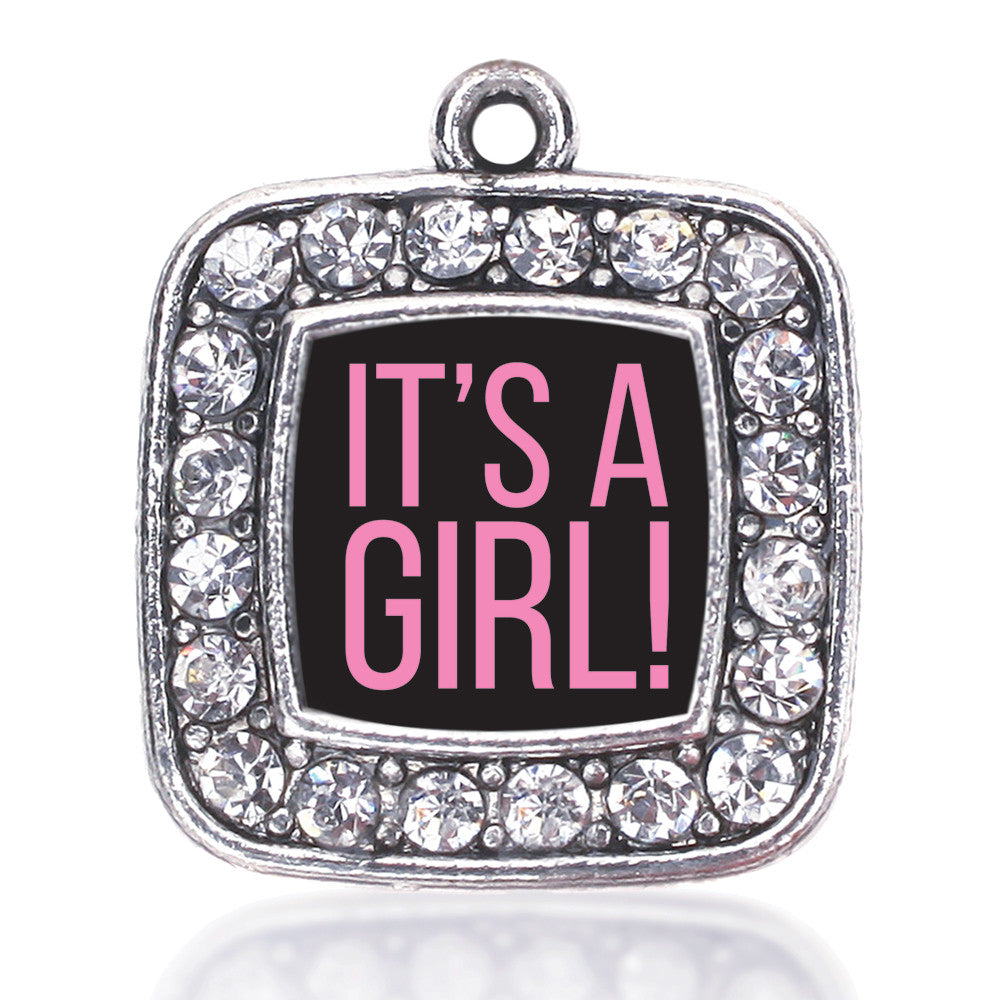 It's A Girl Square Charm