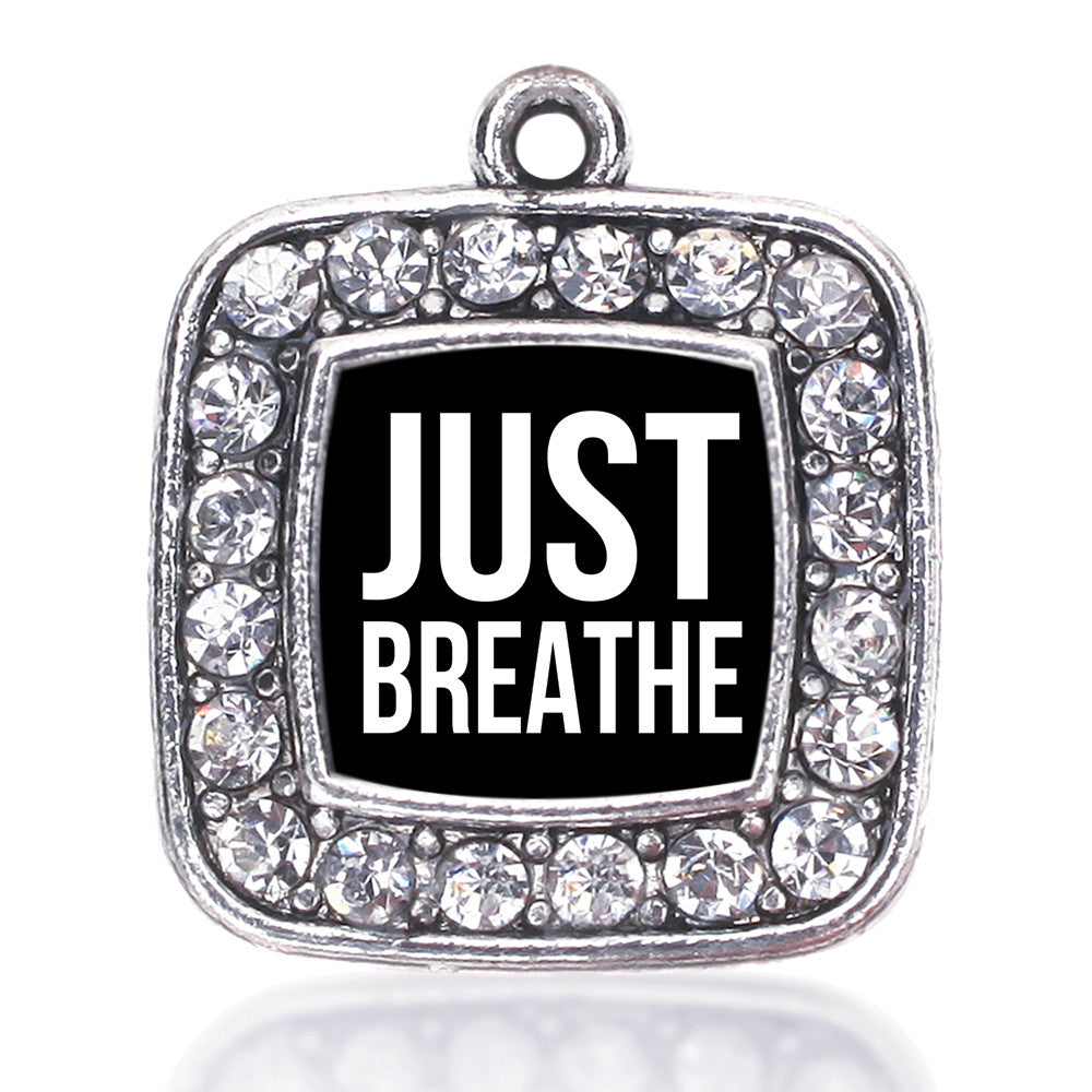 Just Breathe Black Square Charm