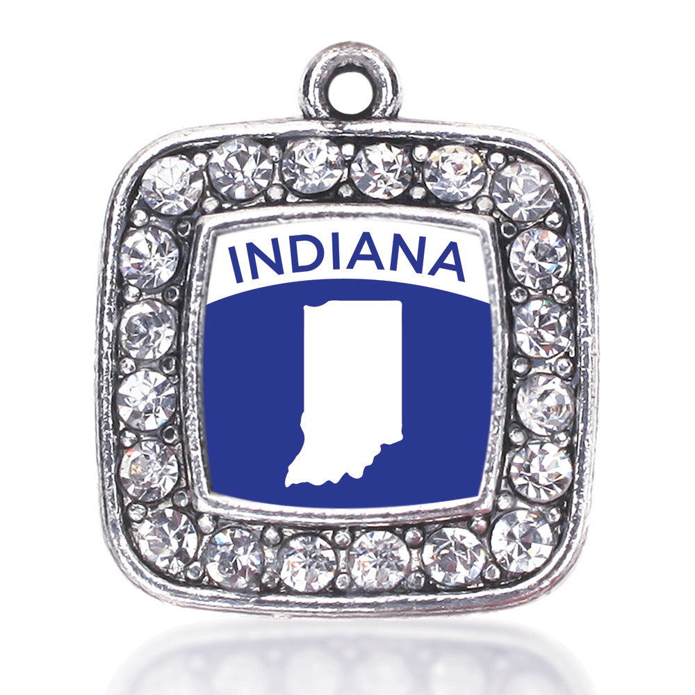 Indiana Outline Square Charm