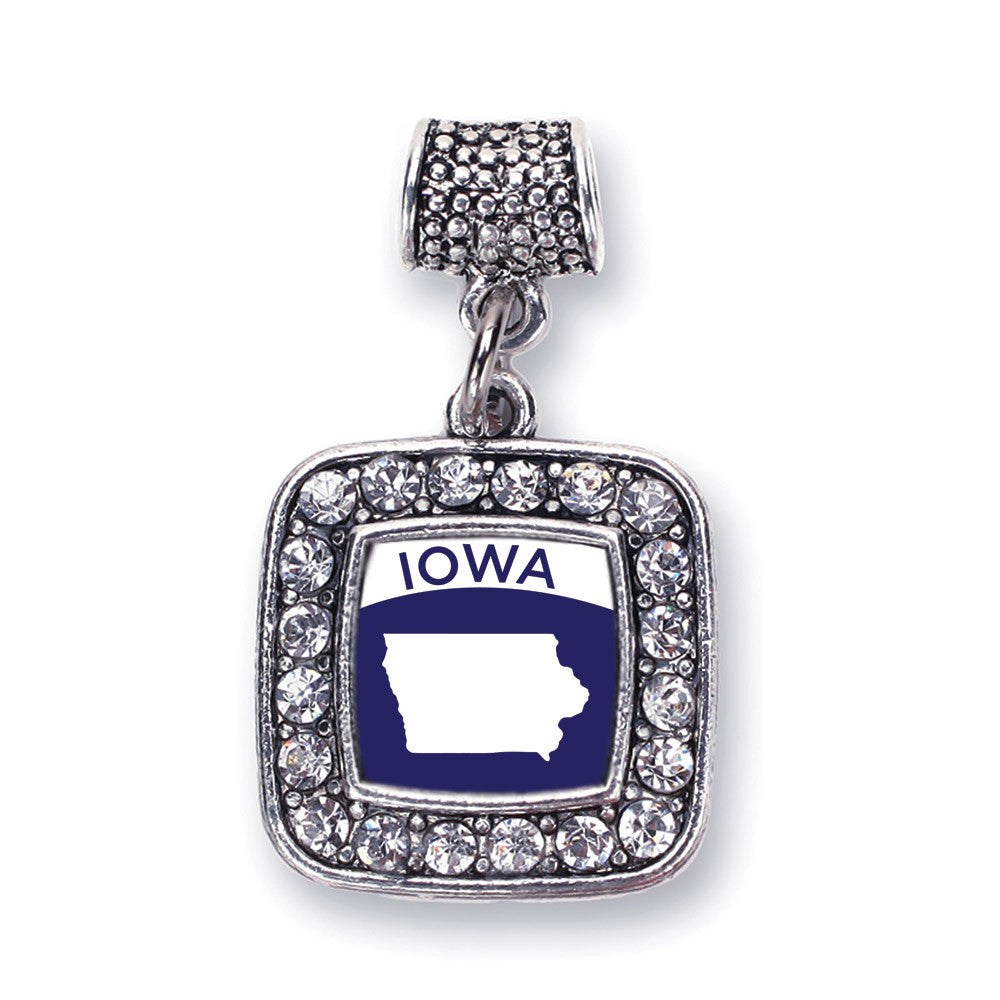 Iowa Outline Square Charm