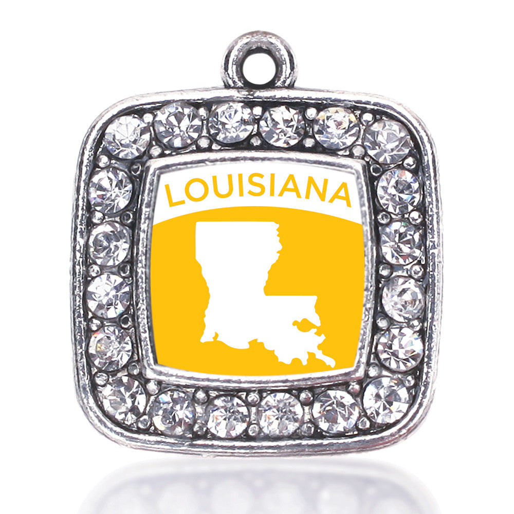 Louisiana Outline Square Charm