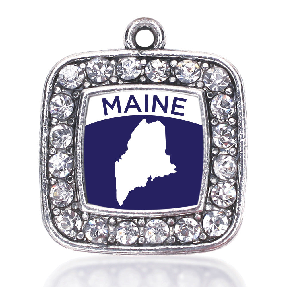 Maine Outline Square Charm