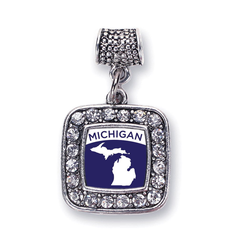 Michigan Outline Square Charm