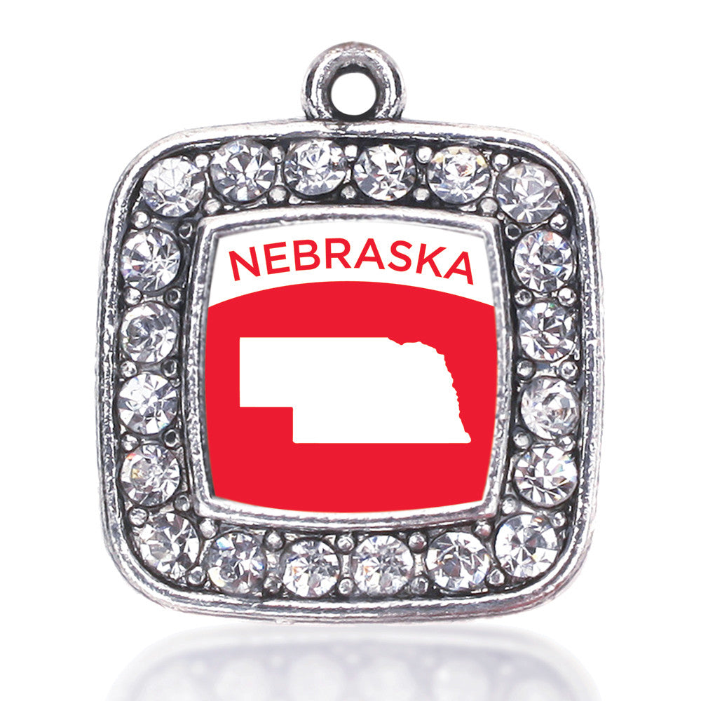 Nebraska Outline Square Charm
