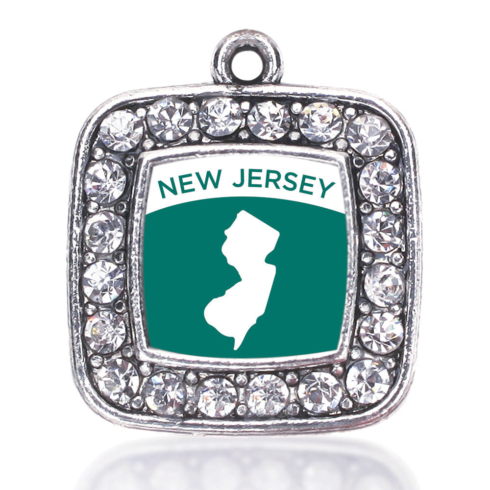 New Jersey Outline Square Charm