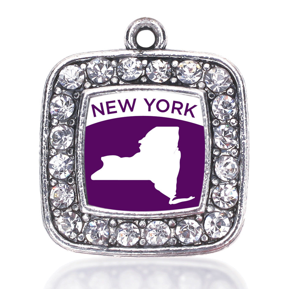 New York Outline Square Charm