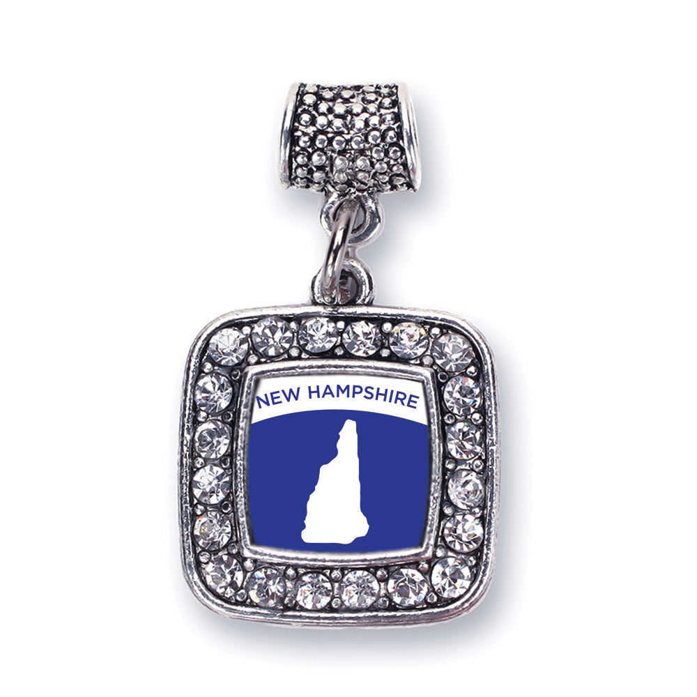 New Hampshire Outline Square Charm