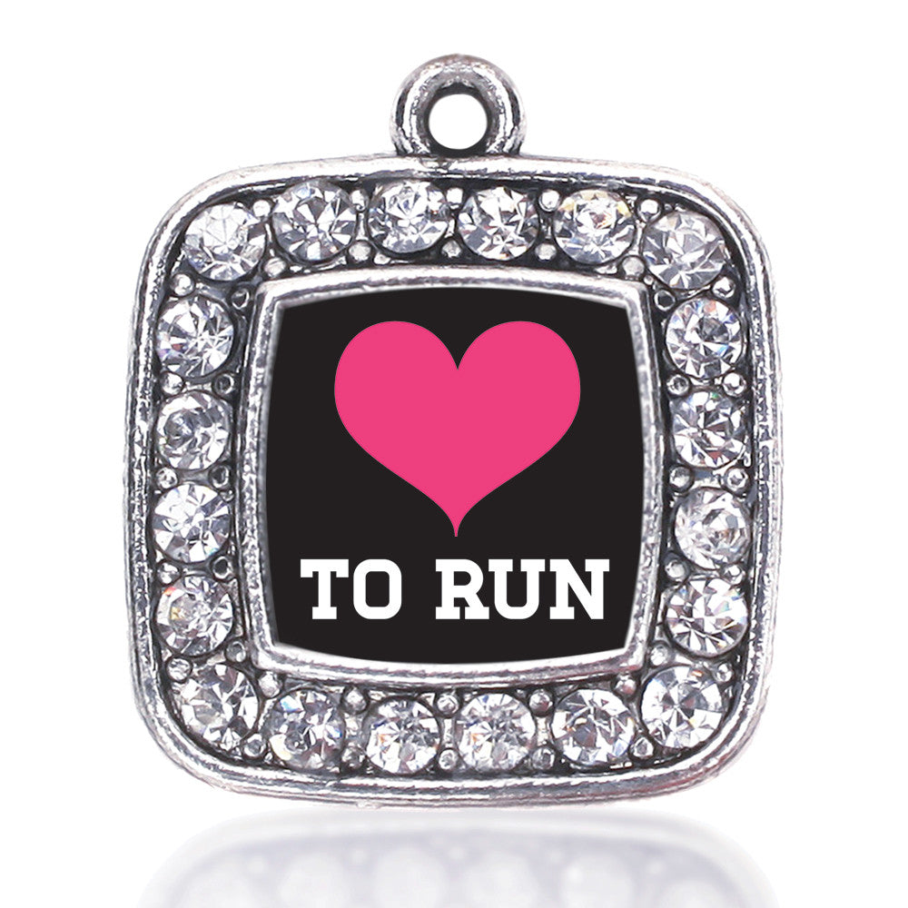 Love To Run Square Charm