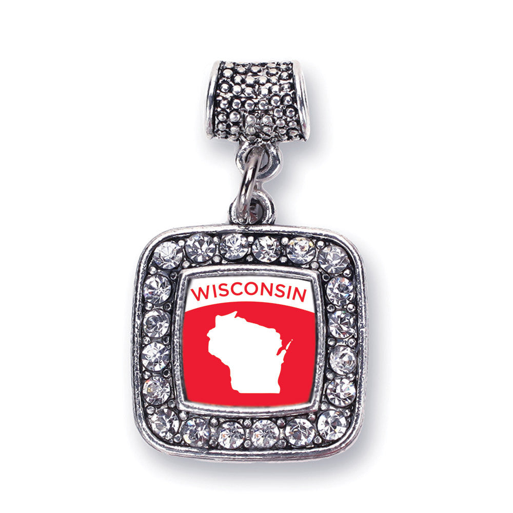 Wisconsin Outline Square Charm