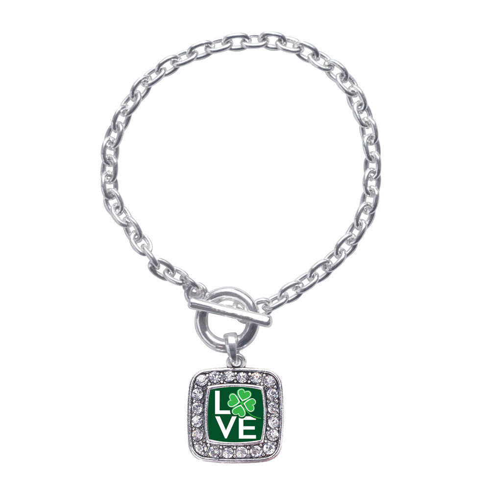 Lucky Clover Of Love Square Charm
