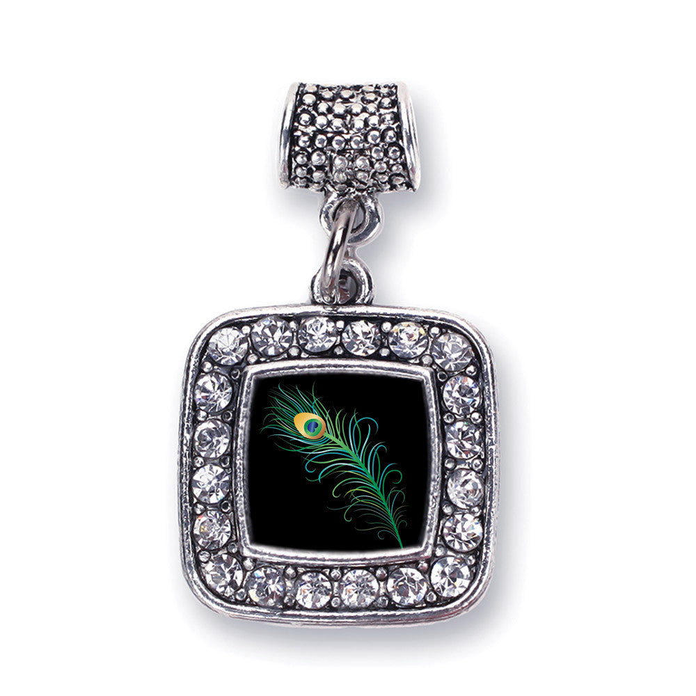 Peacock Feather Square Charm