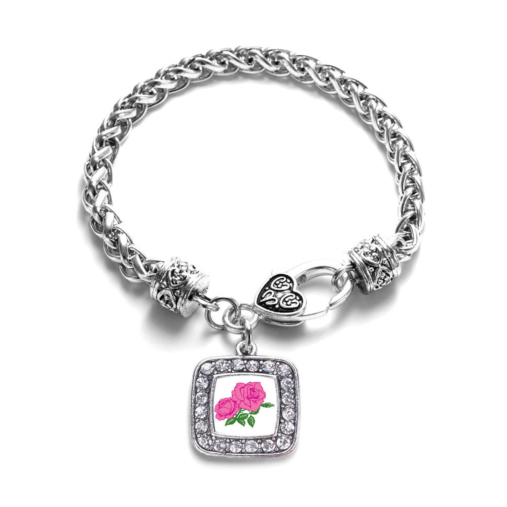 Pink Rose Square Charm