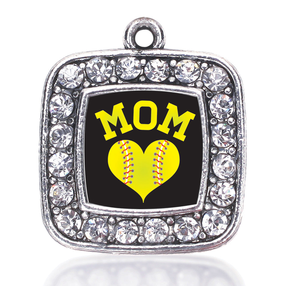 Softball Mom Square Charm