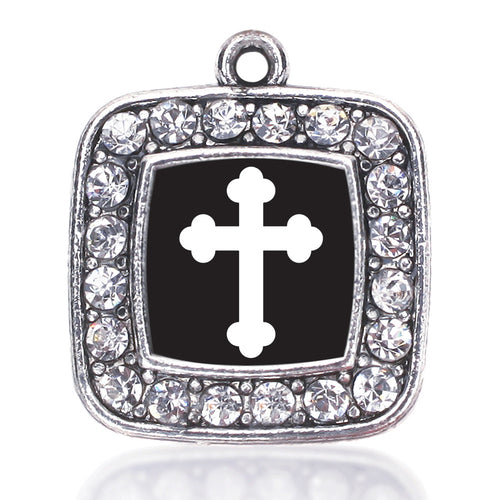 Vintage Cross Square Charm