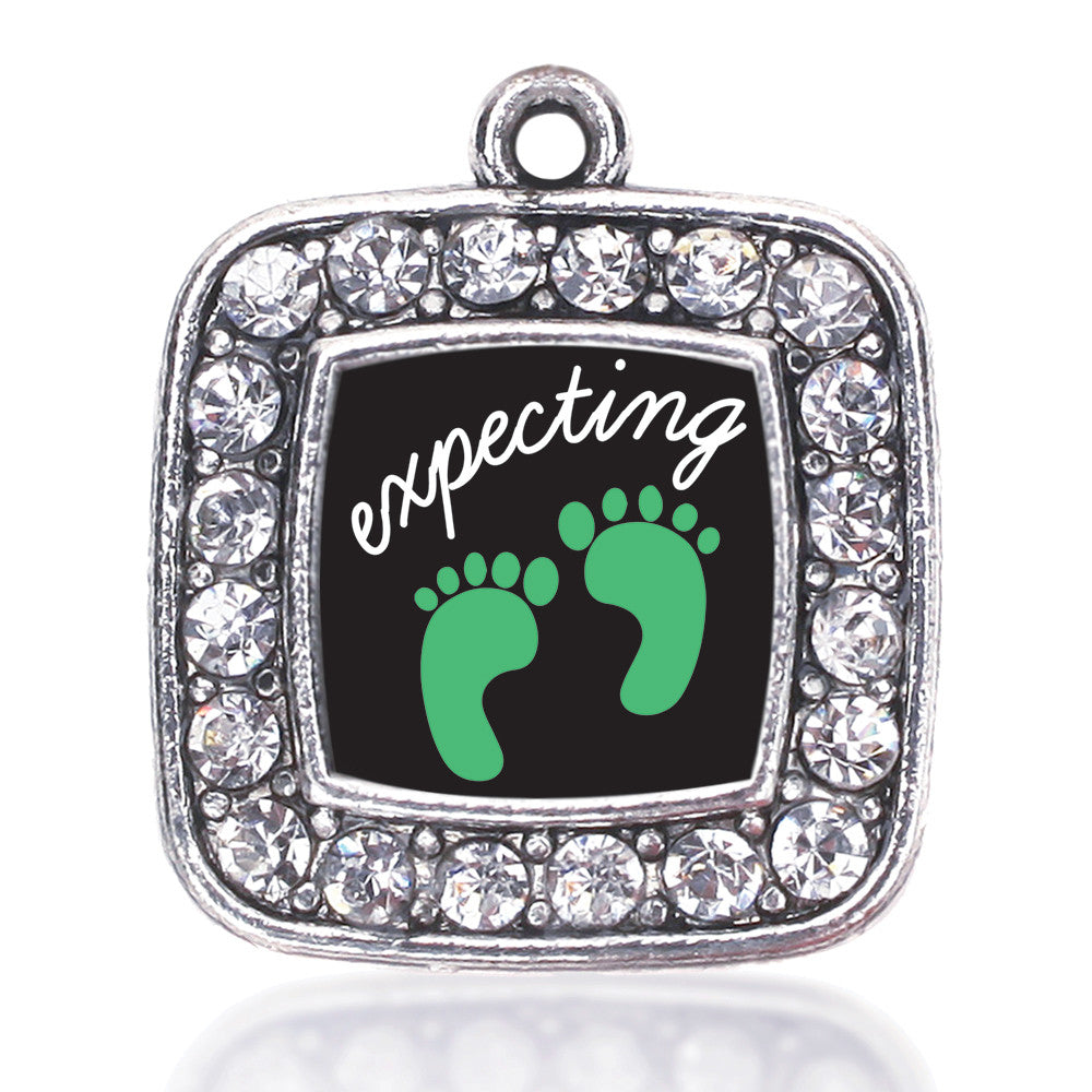 We're Expecting! Footprints Square Charm