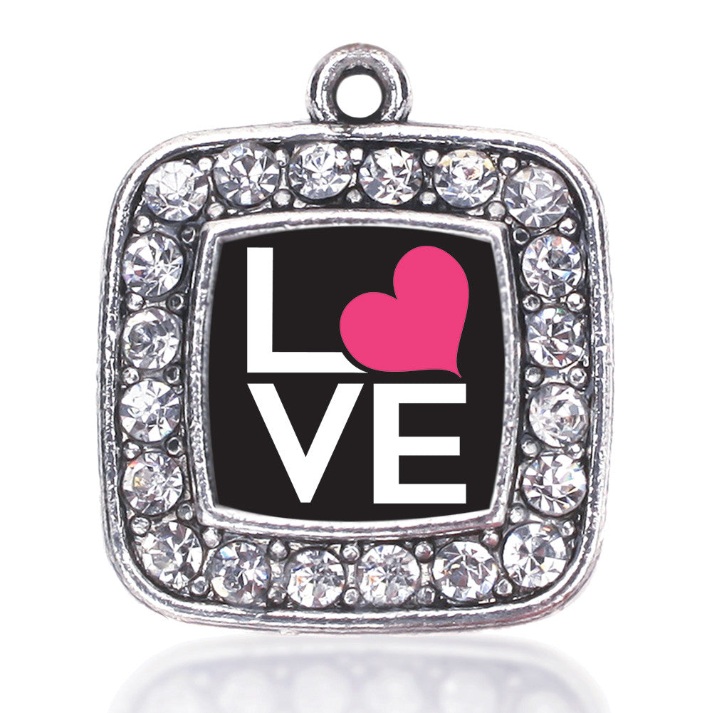 Love Heart Square Charm
