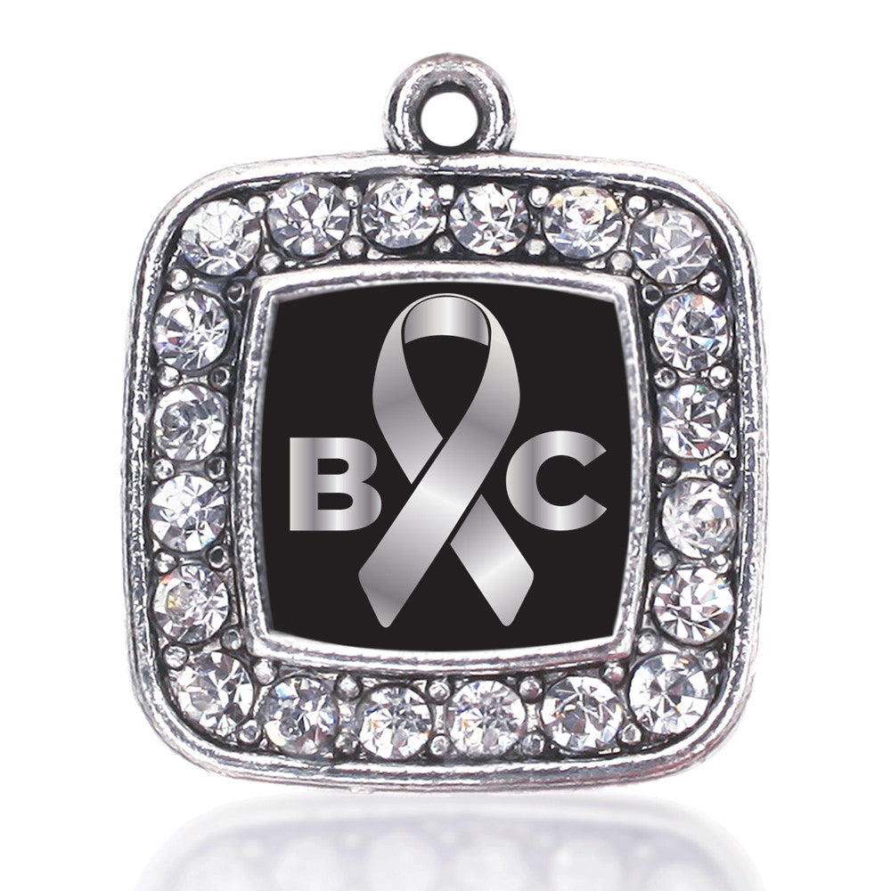 Brain Cancer Awareness and Support Square Charm