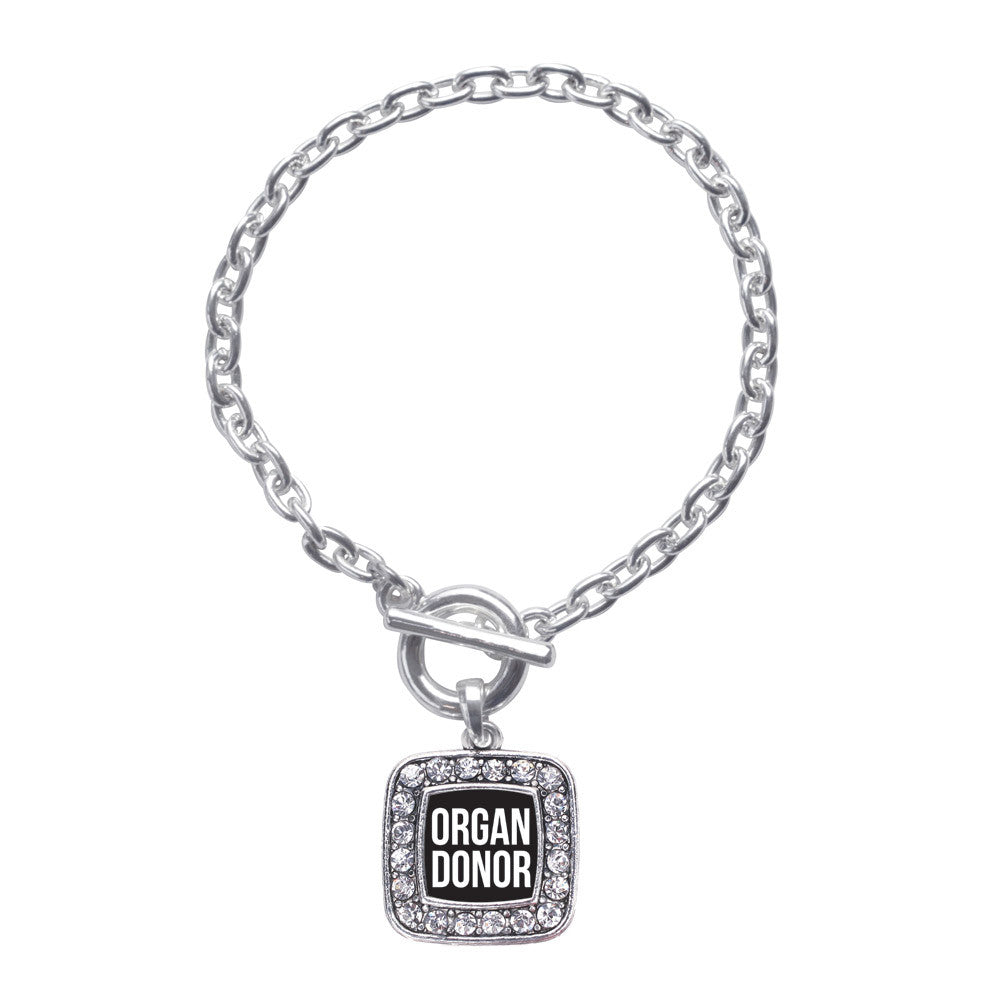 Organ Donor Black Square Charm