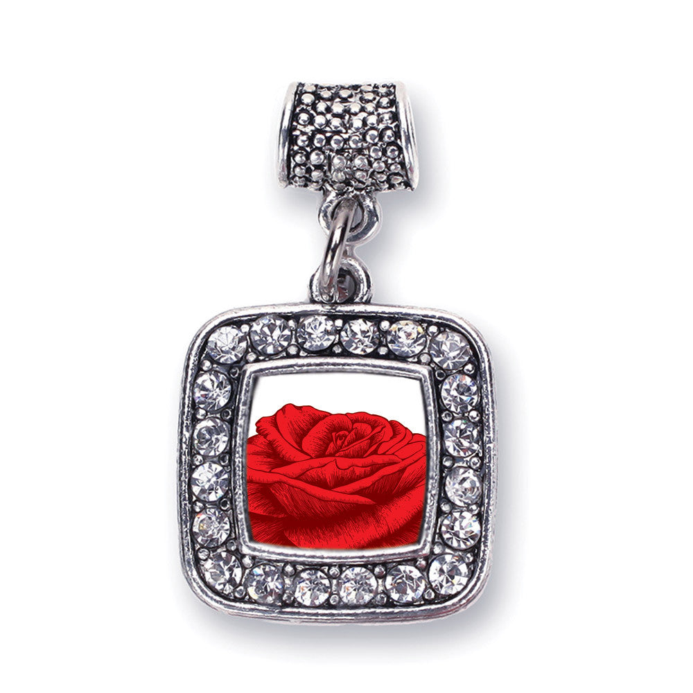 Red Rose Square Charm
