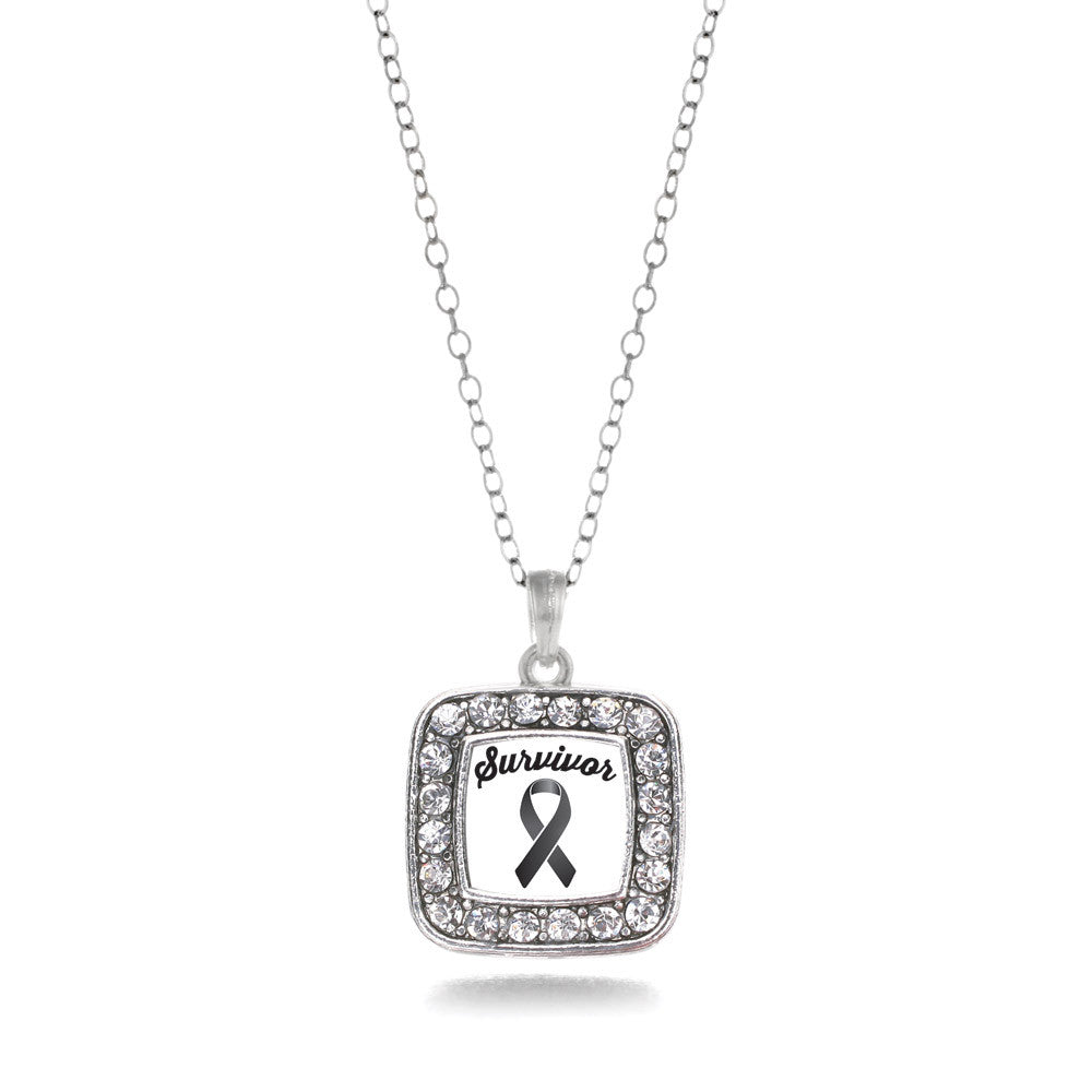 Black Ribbon Survivor Square Charm