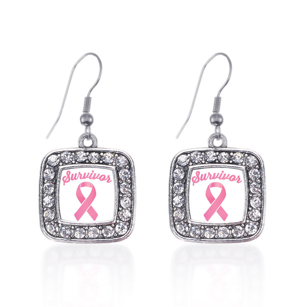 Pink Ribbon Survivor Square Charm