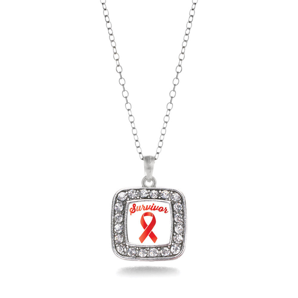 Red Ribbon Survivor Square Charm