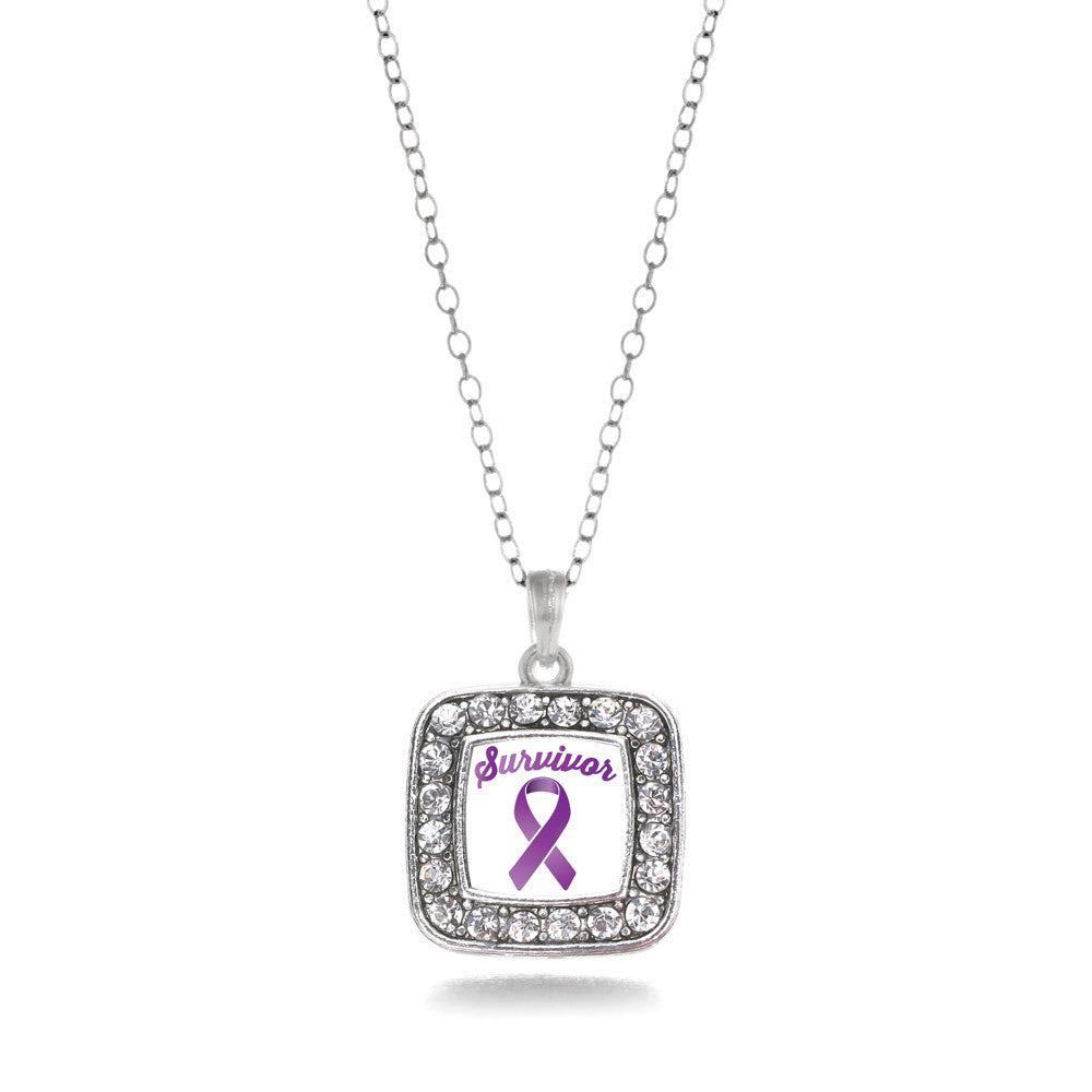 Purple Ribbon Survivor Square Charm