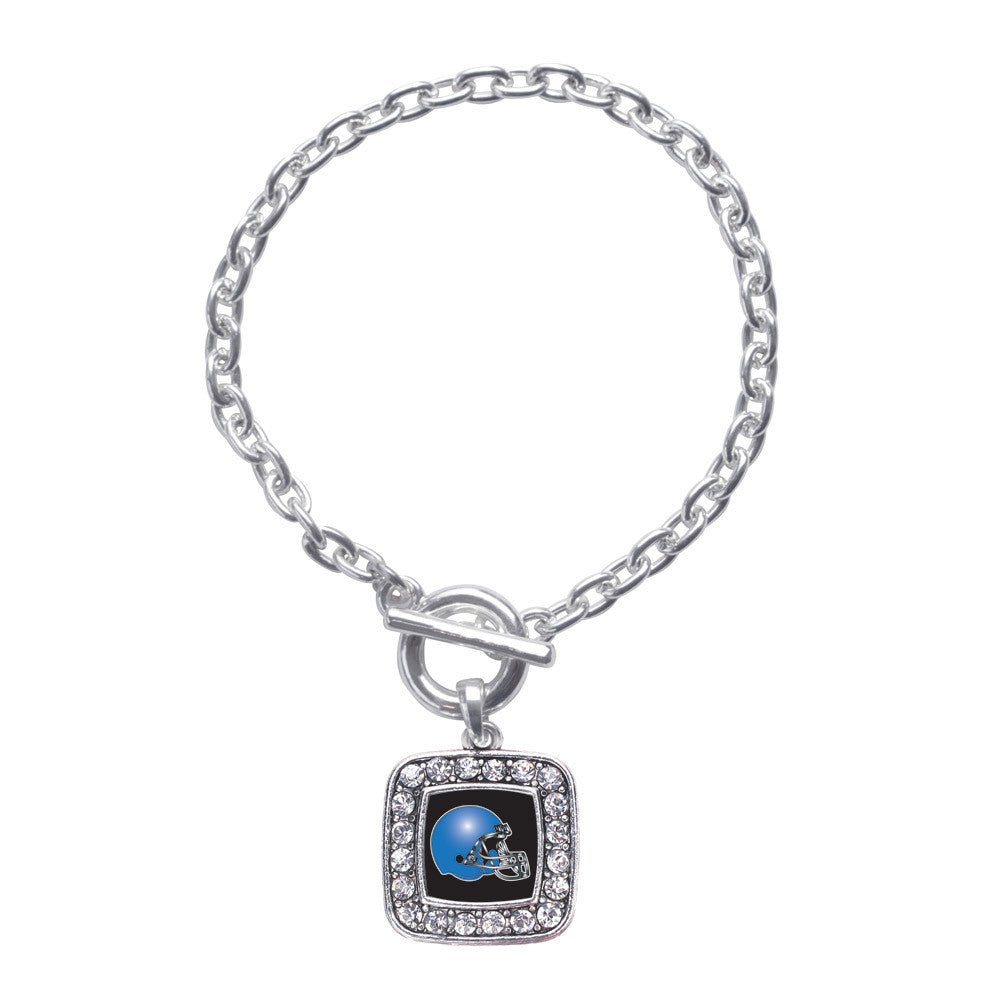 Black and Blue Team Helmet Square Charm