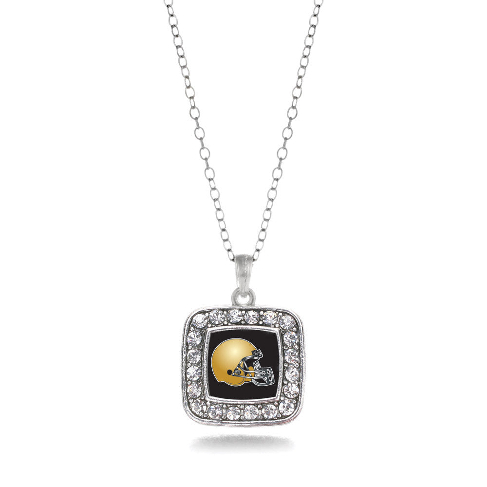 Black and Gold Team Helmet Square Charm