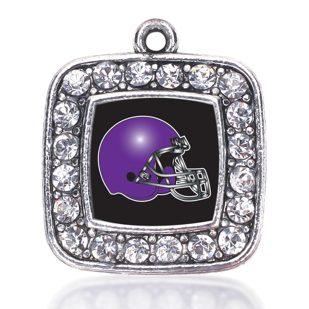 Black and Purple Team Helmet Square Charm