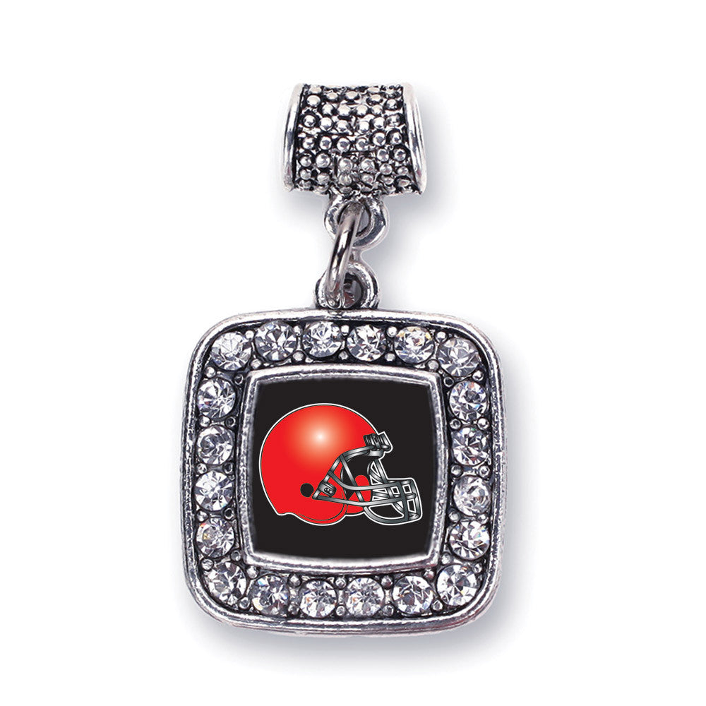 Black and Red Team Helmet Square Charm