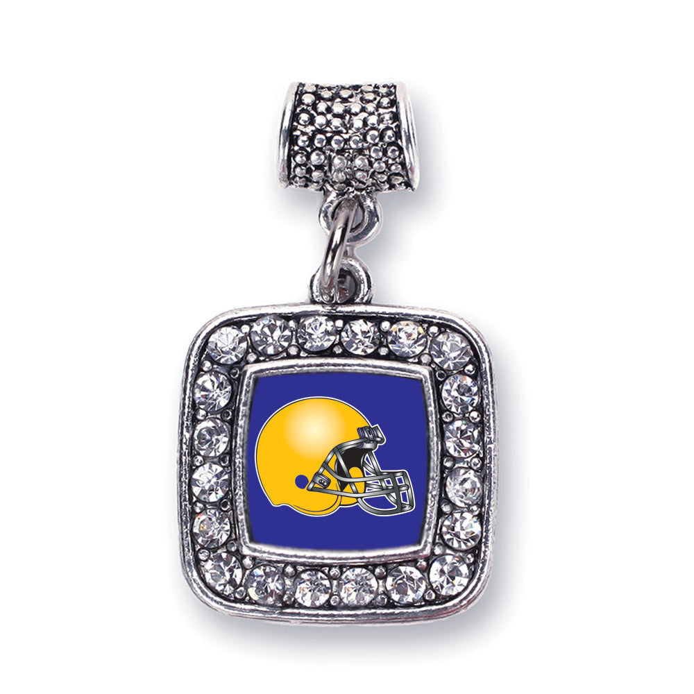 Blue and Yellow Team Helmet Square Charm