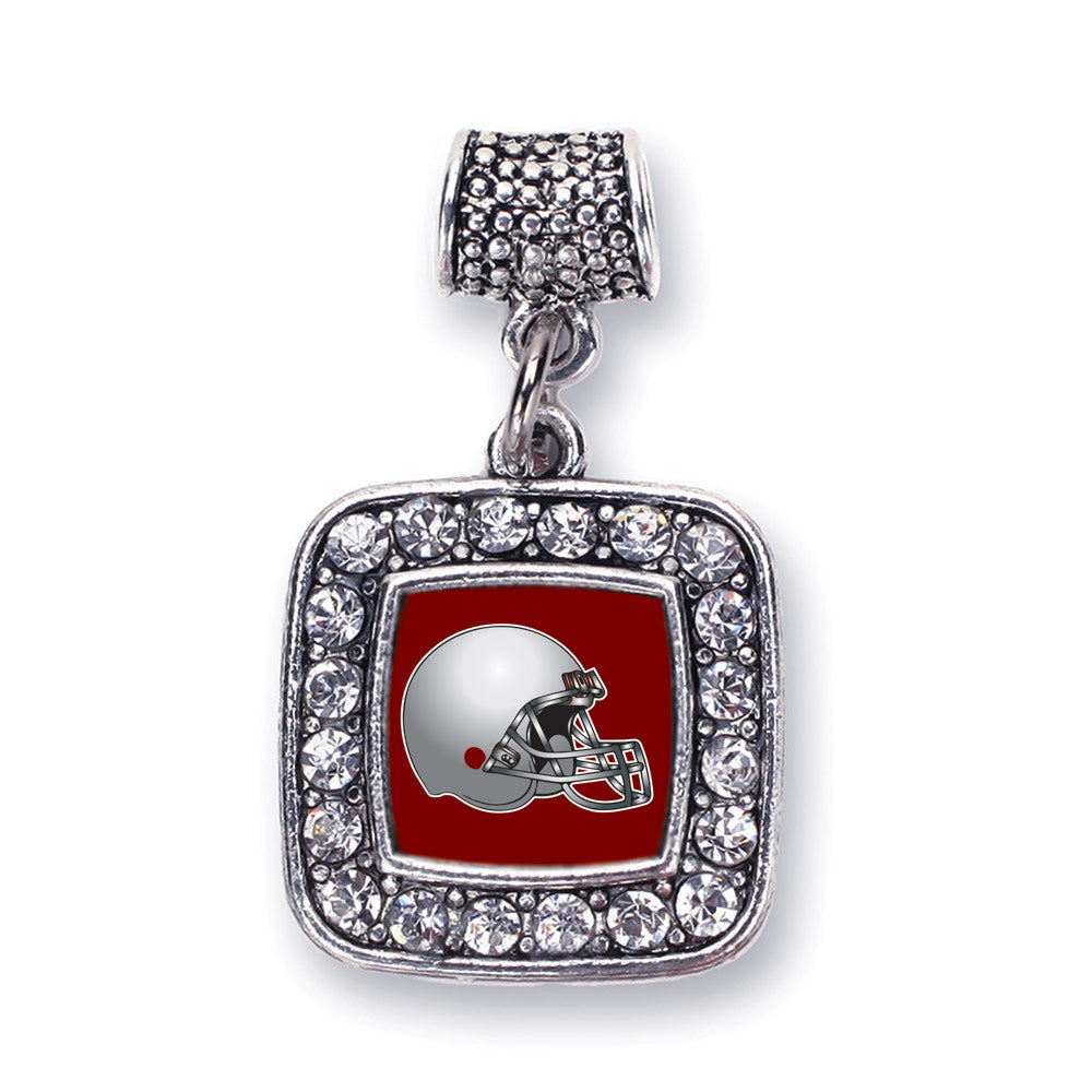 Burgundy and Grey Team Helmet Square Charm